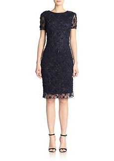 Badgley Mischka Beaded Lattice Sheath