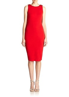 Badgley Mischka Beaded-Shoulder Knot-Back Dress