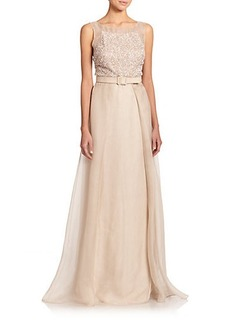 Badgley Mischka Beaded Silk Belted Ball Gown