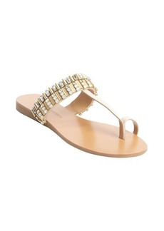 Badgley Mischka beige leather jewel and studded 'Kaitlyn' thong sandals