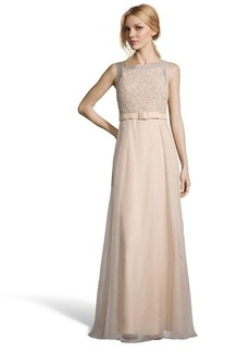 Badgley Mischka beige sequined silk crepe belted evening gown