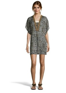 Badgley Mischka black and brown patterned chiffon 'Zara' beaded tunic