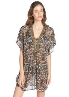 Badgley Mischka black and brown stretch 'Zara' pattern beaded plunging v-neck tunic