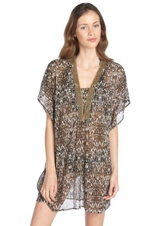 Badgley Mischka black and brown stretch 'Zara' pattern beaded plunging v-neck tunic