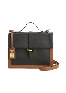 Badgley Mischka black and cognac leather 'Lena' convertible satchel