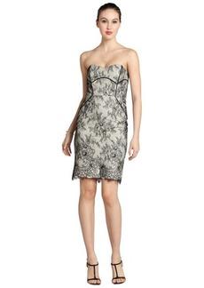 Badgley Mischka black and cream lace strapless dress