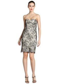 Badgley Mischka black and cream lace strapless dress