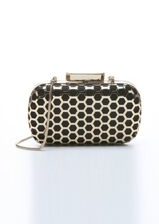 Badgley Mischka black and gold silk 'Alexa' honeycomb detail clutch