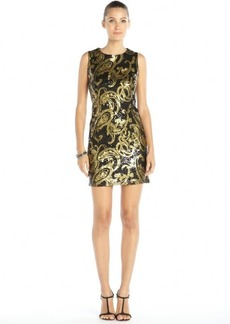 Badgley Mischka black and gold stretch woven patterned sequin shift dress