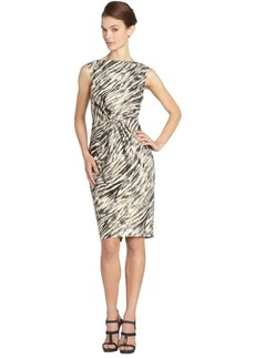Badgley Mischka black and ivory abstract zebra gathered front cocktail dress