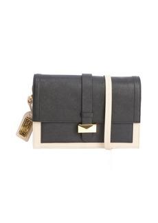Badgley Mischka black and khaki leather 'Lena' shoulder bag