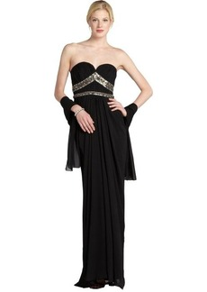 Badgley Mischka black embellished silk chiffon strapless gown