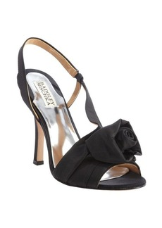 Badgley Mischka black fabric 'Lanah' rosette heeled sandals