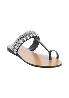 Badgley Mischka black leather jewel and studded 'Kaitlyn' thong sandals