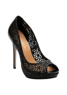 Badgley Mischka black leather 'Junior' laser cut-out platform pumps