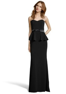 Badgley Mischka black ponte 'Odessa' peplum gown
