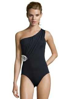 Badgley Mischka black stretch jeweled accent one shoulder one piece