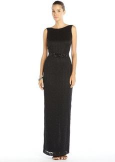 Badgley Mischka black stretch lace scoop back embellished belted gown