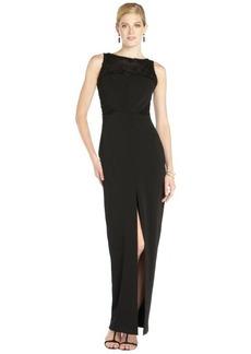 Badgley Mischka black stretch woven beaded sleeveless center slit gown