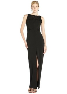 Badgley Mischka black stretch woven beaded sleeveless center slit gown