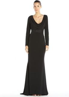 Badgley Mischka black stretch woven drape neck lace waist long sleeve gown