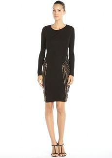 Badgley Mischka black stretch woven embellished long sleeve dress