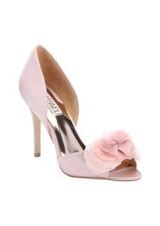 Badgley Mischka blush satin 'Ginseng' flower detail open toe d'orsay pumps