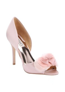 Badgley Mischka blush satin 'Ginseng' flower detail open toe d'orsay pumps