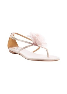 Badgley Mischka blush satin rose detail strappy 'Zowie' sandals