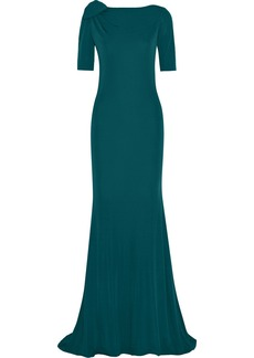 Badgley Mischka Bow-embellished jersey gown