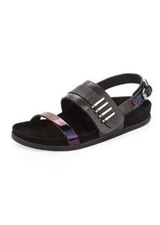 L.A.M.B. Bradyn Flat Sandal, Black/Iridescent