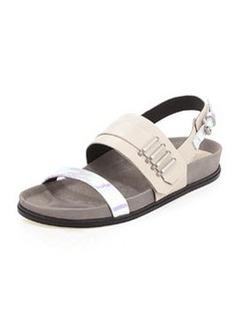 L.A.M.B. Bradyn Flat Sandal, Bone/Iridescent