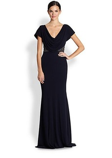 Badgley Mischka Cap-Sleeve Beaded Jersey Dress