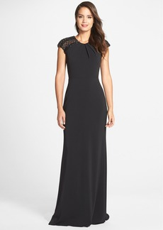 Badgley Mischka Cap Sleeve Macramé Gown