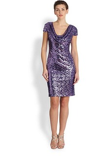 Badgley Mischka Cap-Sleeve Sequin Cocktail Dress