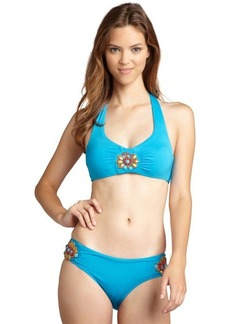 Badgley Mischka cerulean and orange bead embellished hipster bottom