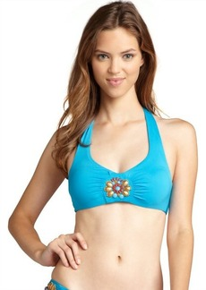 Badgley Mischka cerulean bead embellished halter bikini top