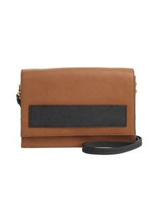 Badgley Mischka cognac and black leather 'Jillian' convertible satchel