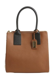 Badgley Mischka cognac and black leather 'Jillian' top handle tote