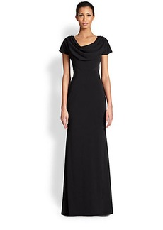 Badgley Mischka Cowlneck Column Gown