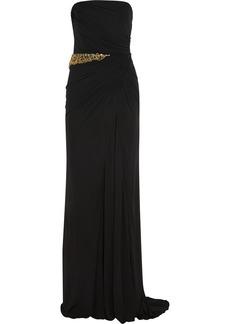 Badgley Mischka Crystal-embellished crepe gown