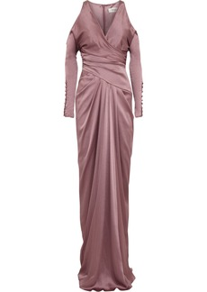Badgley Mischka Cutout textured silk-blend gown
