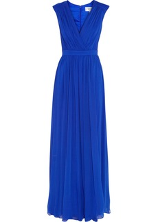 Badgley Mischka Draped chiffon gown