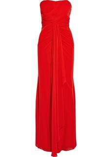 Badgley Mischka Draped silk-chiffon gown