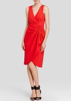 Badgley Mischka Dress - Sleeveless V-Neck Ruched