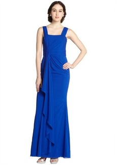Badgley Mischka electric blue draped stretch silk chiffon sleeveless gown