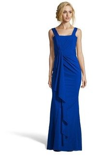 Badgley Mischka electric blue stretch silk chiffon draped gown