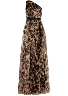 Badgley Mischka Embeliished leopard-print silk-organza gown