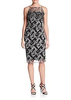 Badgley Mischka Embellished Abstract-Print Dress