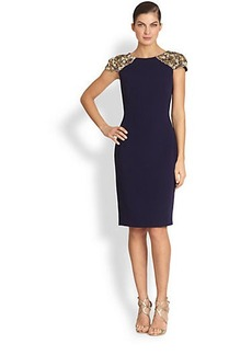 Badgley Mischka Embellished Cap-Sleeve Cocktail Dress